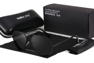 Óculos de sol Banned 1976 Polarizado aviador black frame