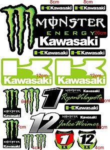 Adesivos kawasaki , monster verde