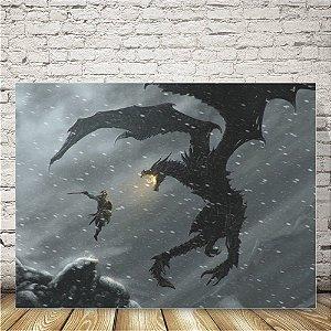 Skyrim dragão Placa mdf decorativa