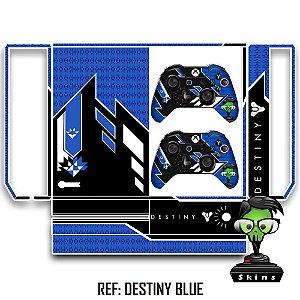 Adesivo skin xbox one fat Destiny azul