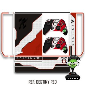 Adesivo skin xbox one fat Destiny vermelho