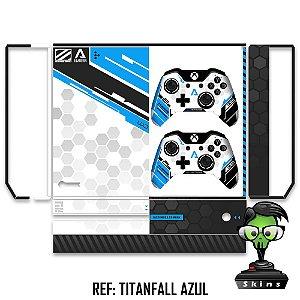 Adesivo skin xbox one fat Titanfall azul