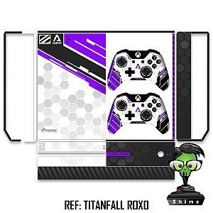 Adesivo skin xbox one fat Titanfall roxo