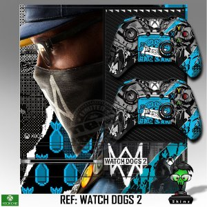 Adesivo skin xbox one fat Watchdogs 2