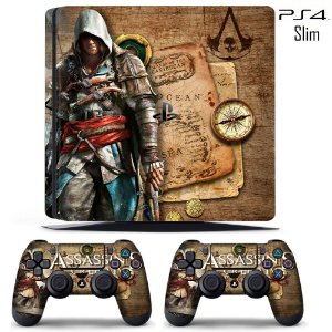 adesivo skin ps4 slim Assassins creed black flag
