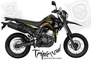 Faixa Lander 250 adesivo Skin custom skull amarelo + logo yamaha lateral traseira