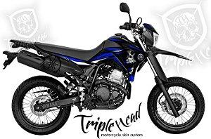Faixa Lander 250 adesivo Skin custom skull azul + logos lateral traseira yamaha