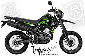 Faixa Lander 250 custom verde + logos yamaha lateral traseira