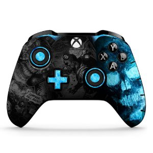 Adesivo custom controle Xbox one skin Gears 5 azul