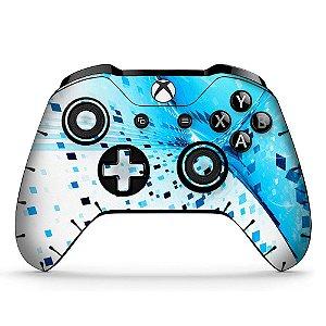 Adesivo custom controle Xbox one skin abstract-ciano-x4