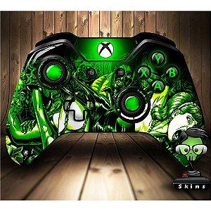 Adesivo custom controle Xbox one skin zombies green