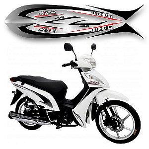 Faixa moto shineray jet 49cc branca