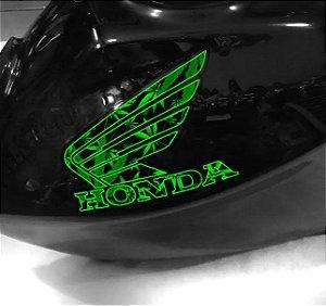 Adesivo de tanque Asa Honda verde 4:20 letras recortadas