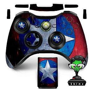 Adesivo de Controle XBOX 360 Capitão América Escudo