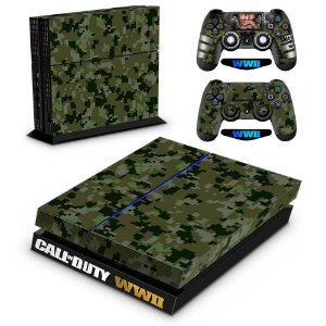 Adesivo para Console Ps4 Fat Call Of Duty WW2 Camuflado