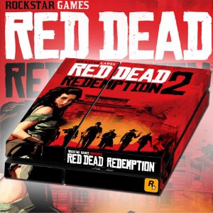 Adesivo para Console Ps4 Fat Red Dead Redempition 2