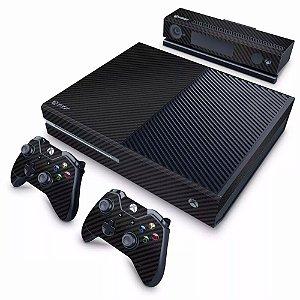 Adesivo para Console Xbox one Fat Fibra de Carbono + 2 skin controle