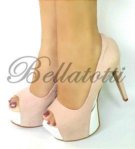 Peep Toe Bellatotti Rosa Bianca