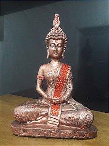 Buda tibetano cor cobre com manto dourado