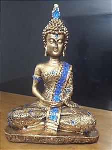 Buda tibetano cor dourado com manto azul escuro