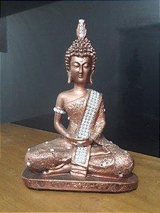 Buda tibetano cor cobre com manto prateado