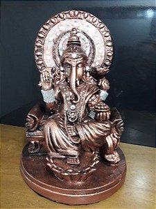 Lord Ganesha Deus da Prosperidade 42cm cobre com enfeites em strass