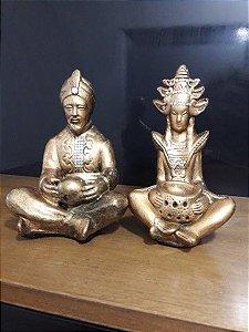 Casal hindu 14 cm metalização dourada com enfeite strass