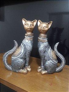 casal de gatos da sorte metalização prata/dourado