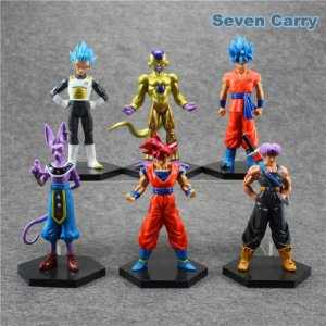 Coleção Dragon Ball Super - Goku Deus, Goku Blue, Vegeta Blue, Golden Freeeza, Beerus  - MugenMundo