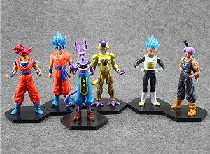 Bonecos Dragon Ball Z - Goku Blue, Vegeta Blue, Goku God, Bills, Trunks