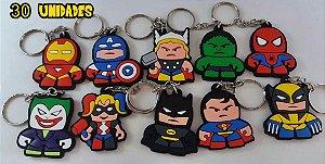 Chaveiros Marvel Dc Comics Spiderman, Ironman - 30 unidades - sortidos