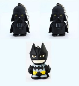 3 Chaveiros Batman & Darth Vader- 2 Darth Vaders + 1 Batman