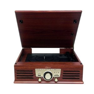Vitrola Raveo Toca Discos Soprano Rádio FM SD e USB Sistema Hi-Fi
