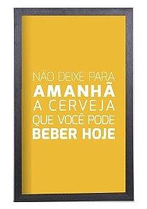 Quadro Porta Tampinha Cerveja Grande Amarelo Estampado (924)