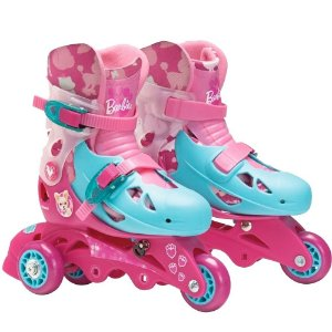 Patins Ajustável 3 Rodas Barbie Com Kit De Segurança 29 - 32