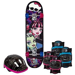 Skate Com Acessórios De Segurança Monster High Fun