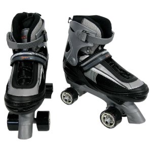 Patins Roller Abec5 Top Clássico Ajustável Preto com Cinza - M (32-35)