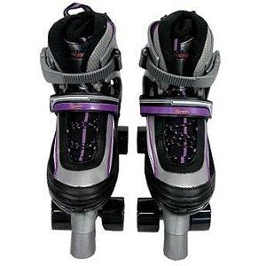 Patins Roller Abec5 Top Clássico Ajustável Preto com Roxo - M (32-35)