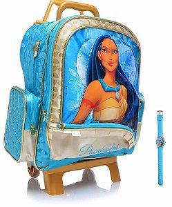 Mochila De Rodinha Escolar Infantil Pocahontas Com Relógio (19489)