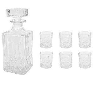 Jogo De Garrafa Em Vidro Whisky Com 6 Copos Lucatti (3709)