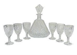 Garrafa Com 6 Taças Em Vidro Washington Lucatti (105177)