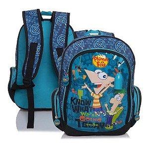 Mochila Média Infantil Disney Phineas E Ferbs Azul Dmw (19778)
