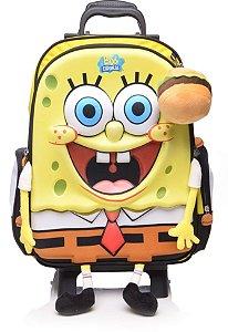 Mochila de Rodinhas Mochilete Infantil Escolar Nickelodeon Bob Esponja Grande Dmw (48572)