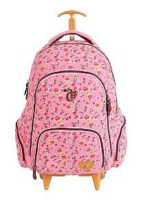 Mochila de Rodinhas Mochilete Escolar Capricho Liberty Pink Grande Rosa (48644)