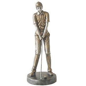 Estatueta Jogador De Golfe Em Resina 32cm Craw