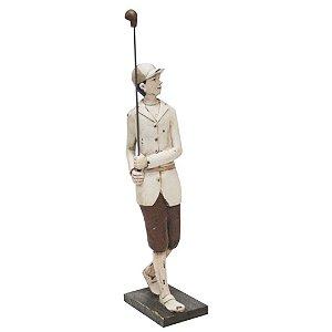 Estatueta Golfista Retrô Em Resina 52cm Craw