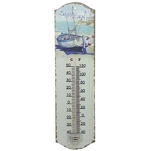 Termômetro De Parede em Aço Barco Azul (Lp-55)