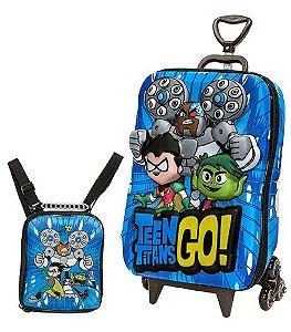Mochila de Rodinhas Mochilete 3D Escolar + Lancheira DC Comics Jovens Titãs Teen Titans Go!