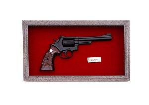 Quadro Réplica Da Arma Smith & Wesson Cal.357 Fundo Vermelho