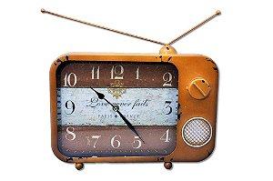 Relógio Decorativo De Televisão Amarelo Ouro (re595)